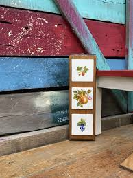 fruit tile plaque wall hanging kitchen home decor three tiles on