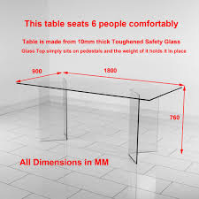 Dining Table Size For 4 6 Chair Dining Table Size Geo Glass Clear Rectangle Dining Table