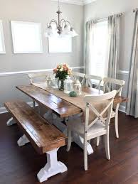 Rustic Dining Room Table With Bench Dining Room Bench White X Base Dining Table With Gray Leather