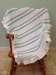 Sock Monkey Baby Bedding White Turquoise And Gray Crochet Baby Blanket Gender Neutral