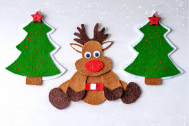 greeting card handmade rudolph reindeer from felt with