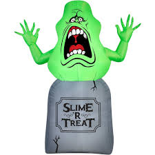 Gemmy Spider Outdoor Halloween Decorations by Amazon Com Halloween Inflatable 5 Slimer On Tombstone Ghost