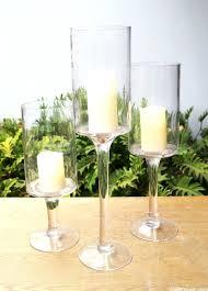 Footed Glass Vase Wide Mouth Glass Vases Cylinder Vase Bowl Set Of 3 Clear Glass