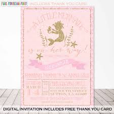 mermaid baby shower invitation mermaid peach gold sparkle