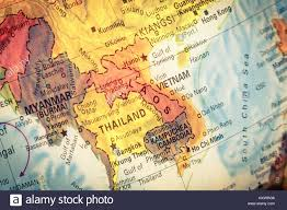 South East Asia Map Vintage Map Thailand Vietnam Laos Close Up Macro Image Of