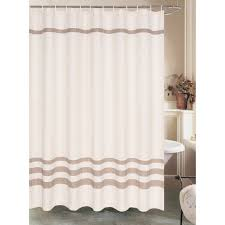 cream waffle shower curtain with brown stripe at home at home