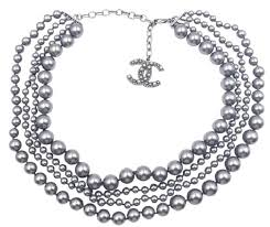 pearl necklace strand images Chanel grey gunmetal cc 4 strand faux pearl necklace tradesy jpg