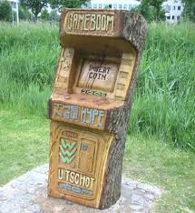 tree carvings tree carved game console video game cabinet carved
