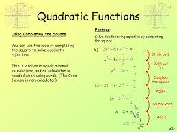quadratic functions 2d example using completing the square