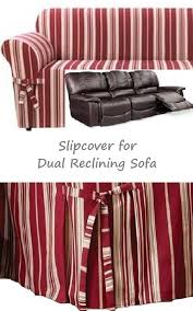 Slipcovers For Reclining Loveseat Dual Reclining Sofa Slipcover City Stripe Burgundy Adapted For