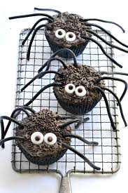 black widow spider cupcakes fork and beans