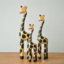 vintage nordic log craft gift giraffe animal wooden ornaments home