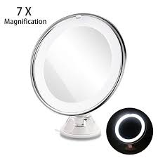 4 led lights mirror circle 7x magnifying cosmetic lady makeup light 360 rotating led battery