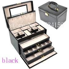 jewelry box necklace organizer images Luxurious big 4 layers black leather jewelry box earrings jewelry jpg