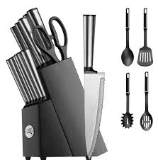 Cutlery Kitchen Knives Koden Series 18 Piece Stainless Cutlery Set W Black Block