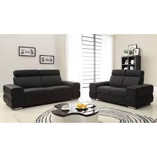 canapé cuir noir 2 places wink canapés en croûte de cuir 3 et 2 places 200x85x90 105 cm