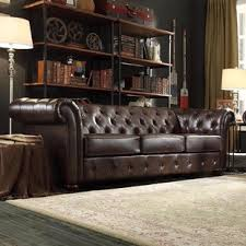 Tufted Brown Leather Sofa Brown Tufted Sofas You Ll Wayfair