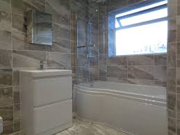 Mirror Bathroom Tiles Coventry Bathrooms P Shaped Shower Bath Bathroom Mirror And Grey