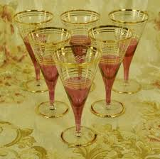 vintage cocktail glasses b872a divine set 6 vintage french cranberry etched u0026 gilded