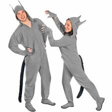 wolf costume footie pajamas grey cotton flannel ready to