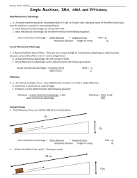 Simple Machines Pulley Worksheet Simple Machines Ima Ama And Efficiency