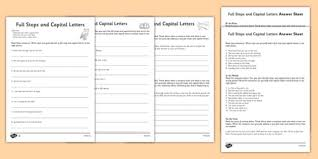 capital letters and full stops with phase 3 words activity sheet