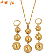 gold bead pendant necklace images Anniyo bead pendant necklaces earrings sets for women teenage jpg