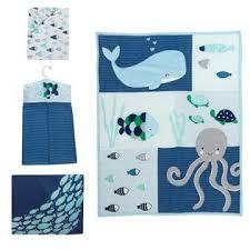 lambs u0026 ivy r oceania aqua blue aquatic 4 piece crib bedding set