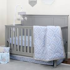 Grey And White Crib Bedding Nojo The Dreamer Collection Blue Grey Diamond Print 8 Piece Crib