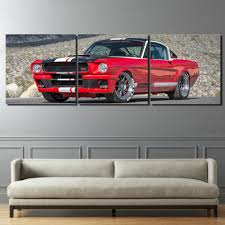 ford mustang home decor modular frame pictures 3 panel red car poster home decor canvas