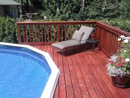 decorating cheap above ground pool deck ideas in redwood material
