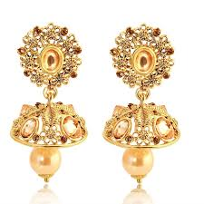 jhumka earrings online buy spargz floral gold plated ad with pearls jhumka earrings