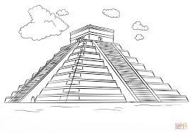 mayan pyramid chichen itza coloring page free printable
