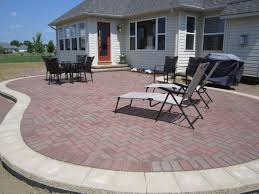 terrace cool patio brick patterns ideas with lounge chairs and