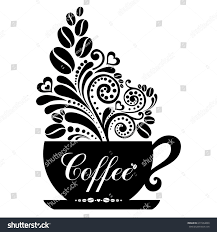 cup coffee floral design elements isolated stock vector 677264890