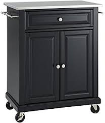 black kitchen island with stainless steel top amazon com crosley furniture rolling kitchen island with