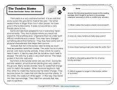 tundra ecosystem worksheets biomes and classroom activities
