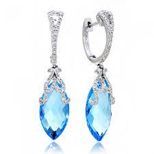 clip on dangle earrings topaz diamond dangle earrings clip marquise 14k white gold