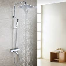 popular thermostatic bath buy cheap thermostatic bath lots from contemporary bathtub shower faucet set 10 inch bathroom waterfall shower head hand shower included thermostatic bath