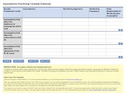 monitoring visit report template assumptions monitoring template optional project starter usaid