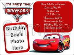 disney cars custom photo birthday invitation