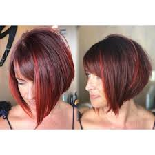 highlights for inverted bob women s inverted bob with side swept bangs on burgundy hair with red