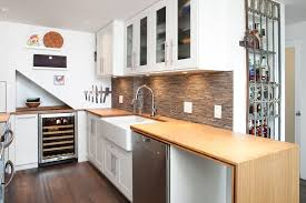 contemporary kitchen with flat panel cabinets u0026 farmhouse sink