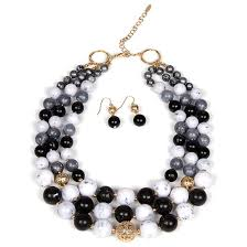 necklace with black stones images Bib necklace and earrings sets jpg