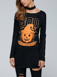 pumpkin print long sleeve halloween t shirt black m in long