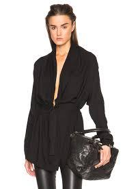belted blouse demeulemeester v neck belted blouse in black fwrd