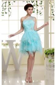 satin netting material one shoulder a line homecoming cocktail