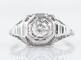 antique engagement ring art deco 49 round brilliant cut diamond