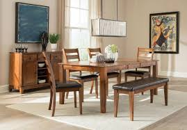 dining room tables with bench kona rectangular dining room set w bench brandy intercon