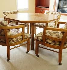 octagon shape game table and four chairs with casters by drexel ebth